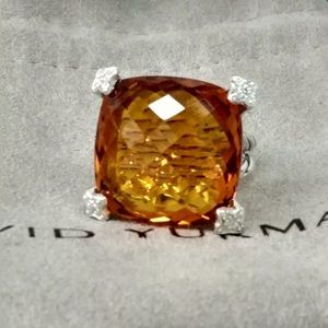 David Yurman 20mm Cushion On Point Citrine Ring